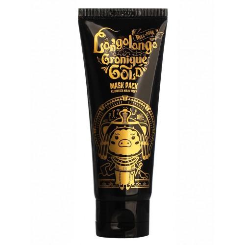 Золотая плёночная маска для лица с коллоидным золотом Elizavecca Hell-Pore Longolongo Gronique Gold Mask Pack