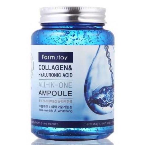 Многофункциональная ампульная сыворотка с коллагеном и гиалуроновой кислотой FARMSTAY Collagen & Hyaluronic Acid All-In-One Ampoule