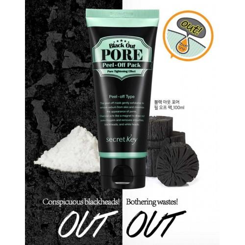 Маска-пленка для очищения пор от грязи и сальных пробок на лице Secret Key Black Out Pore Peel-Off Pack
