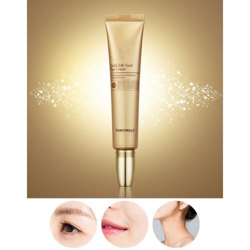 Крем для век с 24-каратным золотом и улиточным муцином Tony Moly Intense Care Gold 24K Snail Eye Cream