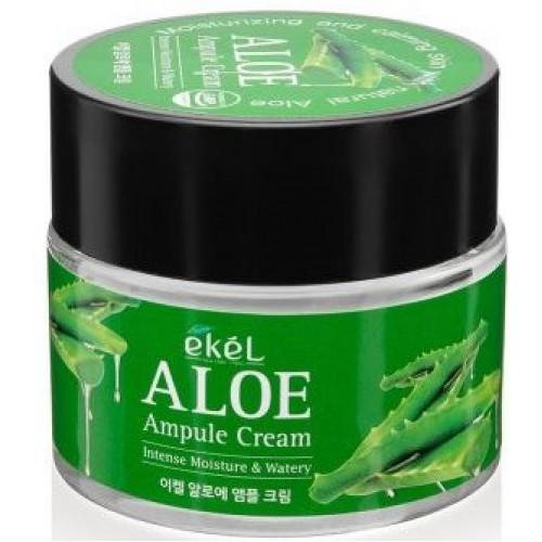 Увлажняющий и успокаивающий крем с экстрактом алоэ Ekel Aloe Ampule Cream intense moisture & watery