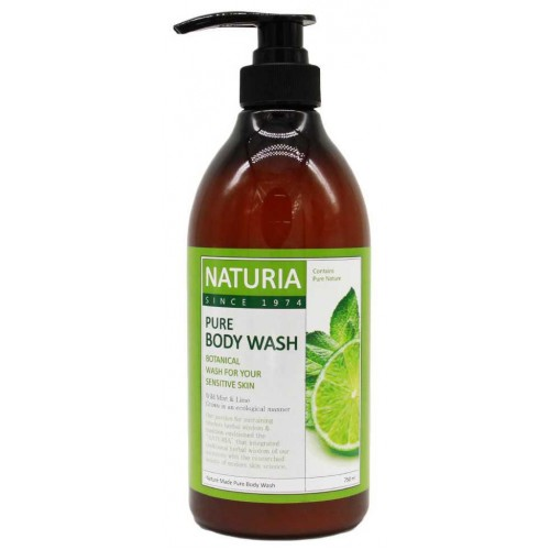 Гель для душа мята и лайм Naturia Pure Body Wash Wild Mint & Lime